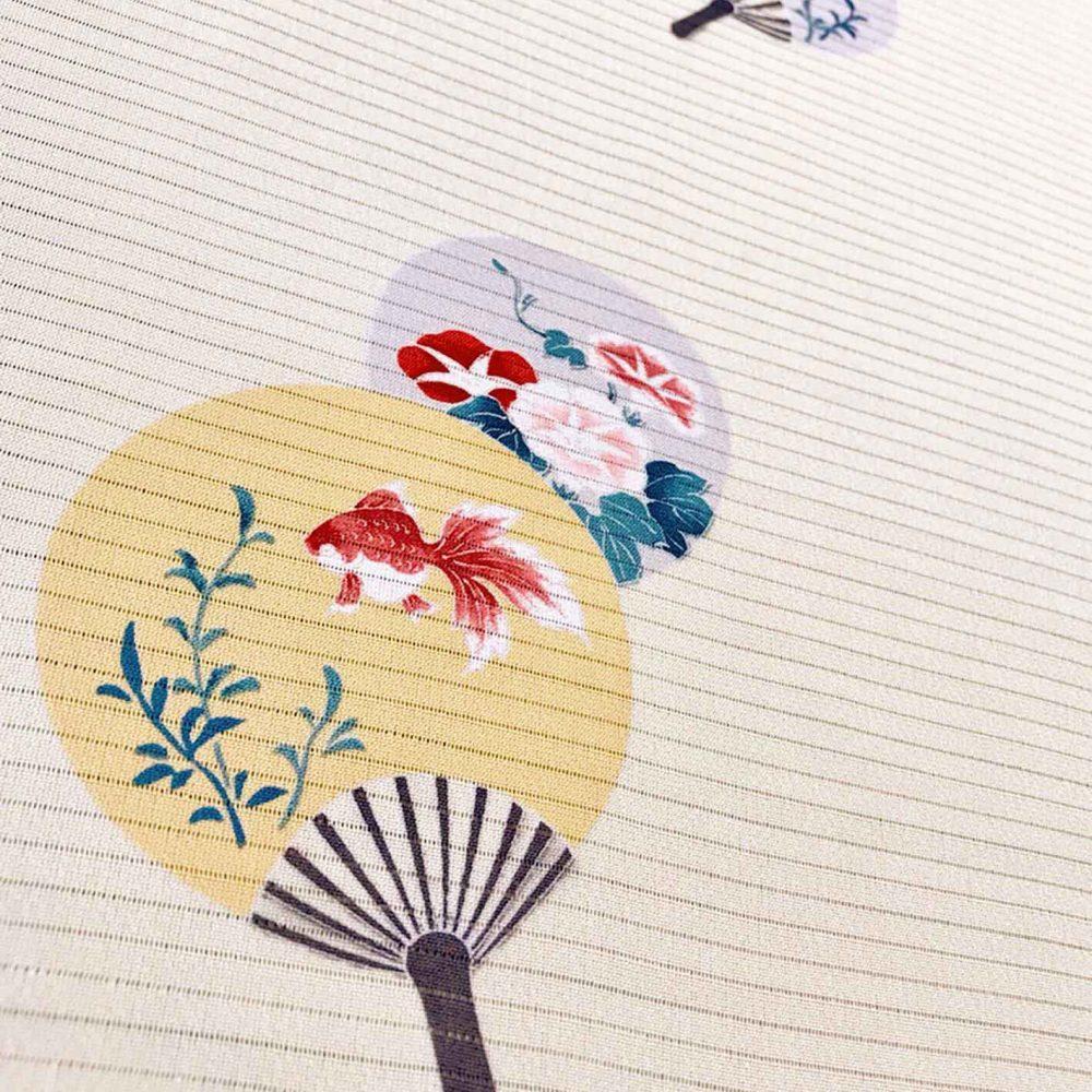 絽長襦袢-団扇に金魚-柄